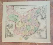 Antique Colored Map/grayand039s - China Or India - The National Atlas 1893