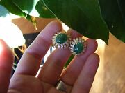 18k Vivid Green Strong Saturation Cabochon Emerald F Si1 Diamond Earrings 9.4ct