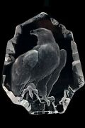 Mats Jonasson Freedom Etched Bald Crystal Eagle Sculpture Figurine Statue And Box