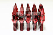 Z Racing 28mm Red Spike Cone Seat Lug Bolts 14x1.5mm For Vw Golf Jetta Audi