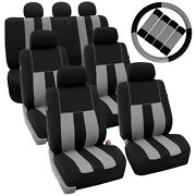 Gray Black 3rowsuv Split Bench Car Seat Covers Steering Wheel And Seat Belt Pads
