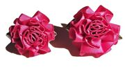 Vintage Jewelry - 1980s Red Satin Ribbon Cabbage Roses Floral Stud Earrings