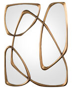 Stunning Mid Century Modern Gold Leaf Mirror Of Free Form Organic Shapes New
