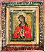 Antique 18c Hand Painted Russian Icon The Mother Of God Help With Birth