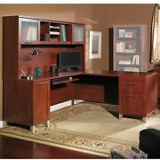 Desk L Shape 71 Writing Computer Office Furniture Cherry Drawers Hutch New