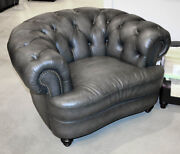 New Chesterfield Big Club Chair Gray Best Top Grain Leather Restoration Style