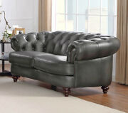 New 72 Chesterfield Sofa Loveseat Gray Best Top Grain Leather Restoration Style