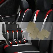 Premium Modernistic Red Black Auto Car Seat Covers With All Weather Floor Mats