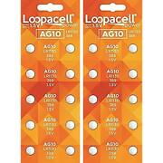 Loopacell Ag10 Coin And Button Cell Lr1130 389 Alkaline Watch Batteries X 20