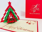 Pack Of 10 Card Christmas Tree Australian Design - Origami Pop Up Greeting Cards
