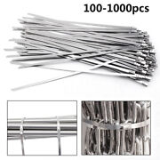 1000pcs 12 16 18 Stainless Steel Metal Cable Zip Tie Self Lock Strap Strong