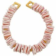 Blush Pink Square Conch Shell Statement Necklace
