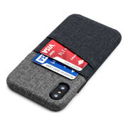 Luxe M2 Iphone X / Xs Wallet Case Canvas Style 2 Card Slot Int Metal Plate