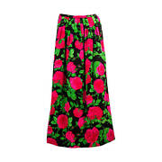 Striking Adolfo Silk Red Pink Green And Black Long Pleated Floral Skirt