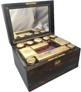 English Wooden Necessaire Case With Glass And Gilt Jars