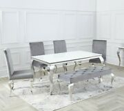 Louis Chrome Set White Black Glass Dining Room Table And Velvet Chairs 1.6 / 2m.