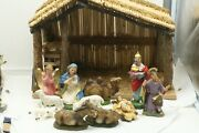 Vintage Christmas Nativity Set 12 Figures And Rustic Wood Stable Made In Italy