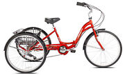 New 26 Kent Monterey Adult Folding Trike Red Tricycle 7 Speed Aluminum Frame