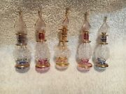 Lot Of 10 Mouth Blown Egyptian Perfume Bottles Gold Painted Pyrex Glass 4