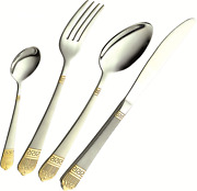 72 Piece Stainless Steel Gold Detail Supreme Quality Cutlery Canteen Set