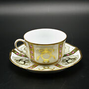 Faberge Gold, Enamel And Jeweled Coffee Cup Saucer Limoges Porcelain China 24k