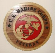 Us Marine Corps - Veteran - Red - Laser Cut 3d Wood Wall Tribute Plaque 11andfrac14