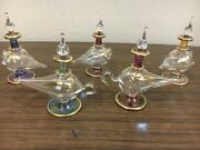 Set Of 5 Mouth Blown Egyptian Perfume Bottles Pyrex Gold Painted Glass 3.7