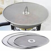 Stainless Steel Frying Pan Lid Splatter Cover Spill Proof Screen Handle Kitchen