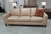 Art Deco Style Sofa Couch Light Coffee Top Grain Leather Restoration Style New