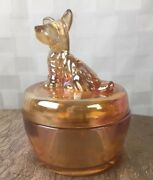 1940s Jeannette Marigold Carnival Glass Terrier Scotty Dog Covered Candy Dish