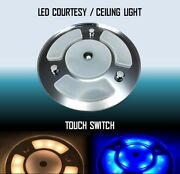 Marine Boat Rv Led Courtesy Ceiling White/blue Light Touch Switch Mirror Surface