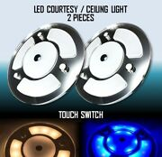 Marine Boat Rv Led 2pcs Of Courtesy Ceiling White/blue Light Touch Switch Mirror