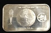One Step For Man Freedom For All 999 Silver Art Bar 1 Troy Oz Green Star Mint