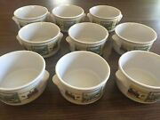 Lowell Herrero Soup Mug Bowl Cows Farm Scene Rooster Set Of 9 Great Condition