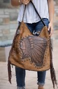 Raviani Western Tote W/ Native American Indian Chief Logo W/ Fringe Ccw Holster
