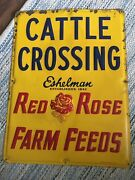 """1959 Red Rose Farm Seeds Sign Eshelman 1842 Cattle Crossing """" Signage"""