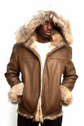 Jakewood Menand039s Warm Winter Brown Lambskin Jacket With Coyote Fur Hood Size 2xl
