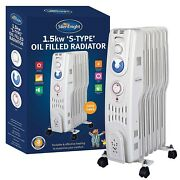 Silentnight White 1500w 7 Fin Oil Filled Radiator Heater With Thermostat And Timer