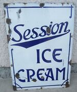 1930's Porcelain Ice Cream Sign Soda Fountaindiary Parlor Soft Serve Session