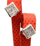 Diamond Earrings With Invisible Set Princess On Clips