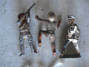 Lot Of 3 Vintage Lead And Cast Iron Toy Soldiers 3 Tall