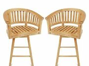 2 Windsor Premium Grade A Teak Curved Swivel Counter Chairs - 5 Lower Then Bar