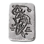 2 - 5 Oz. 999 Fine Silver Bars - Monarch Viking Flail And Shield - Hand Poured