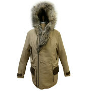 Jakewood Menand039s Beige Cotton Jacket Leather Trimming And Finland Raccoon Hood