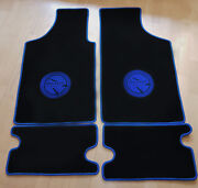 Floor Mats For Matra 530 Velours Black And Logo In Blue 4-pieces