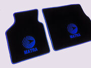 Floor Mats For Matra Murena Velours Black And Logo In Blue 2-pieces