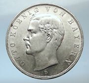 1908 Germany Bavaria Ruled By Otto I W Eagle Antique Silver 3 Marks Coin I73798