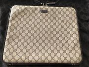 Rare New Gg Brown Leather/canvas Laptop Case/sleeve Or Clutch/pouch