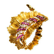 Retro Ruby And Diamond Leaf Gold Brooch Pin