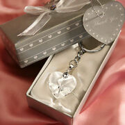 25-144 Crystal Heart Chrome Key Chain - Wedding Shower Party Favors
